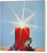 Christmas Candle With Starburst And Holly. Wood Print