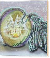 Christmas Card Dragon 2015 Wood Print