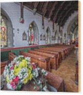 Christmas Church Flowers Wood Print