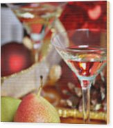 Christmas Cocktails Wood Print by HD Connelly