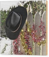 Christmas Cowboy Hat On Fence - Merry Christmas  Wood Print
