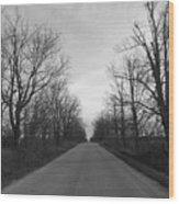 Christmas Day Country Road Wood Print