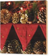 Christmas Decorations Of Garlands And Pine Cones Wood Print