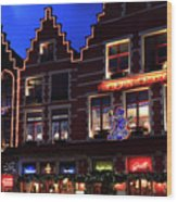 Christmas Decorations On Buildings In Bruges City Wood Print