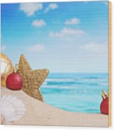 Christmas Decorations On The Beach Wood Print