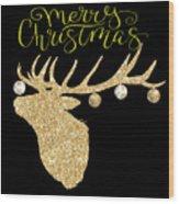 Christmas Deer Wood Print