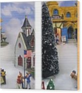 Christmas Display - Gently Cross Your Eyes And Focus On The Middle Image Wood Print