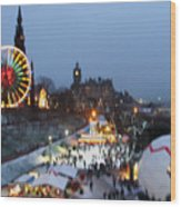 Christmas Fair Edinburgh Scotland Wood Print