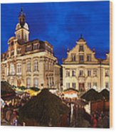 Christmas Fair In Front Of Town Hall Wood Print