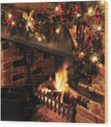 Christmas Fireplace Wood Print by Andy Smy