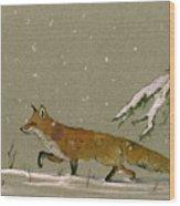 Christmas Fox Snow Wood Print