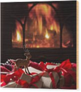Christmas Gifts By The Fireplace Wood Print