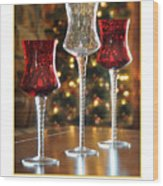 Christmas Glass Candle Holders Wood Print