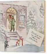 Christmas Greeting Card 36 - Snowy Winter Eve  Wood Print