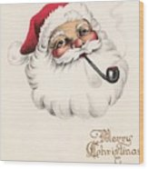 Christmas Greetings 1229 - Vintage Christmas Cards - Santa Claus With Pipe Wood Print