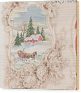 Christmas Greetings 1251 - Vintage Christmas Cards - Snowy Cottage Wood Print