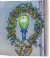 Christmas Holiday Wreath With Balls Wood Print