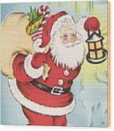 Christmas Illustration 1216 - Vintage Christmas Cards - Santa Claus With Christmas Gifts Wood Print