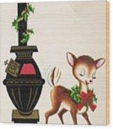 Christmas Illustration 1217 - Vintage Christmas Cards - Reindeer Wood Print