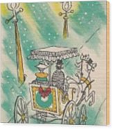 Christmas Illustration 1218 - Vintage Christmas Cards - Horse Drawn Carriage Wood Print
