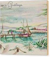 Christmas Illustration 1220 - Vintage Christmas Cards - Landscape Painting Wood Print