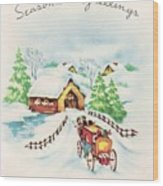 Christmas Illustration 1226 - Vintage Christmas Cards - Horse Drawn Carriage Wood Print