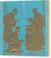 Christmas Illustration 1227 - Vintage Christmas Cards - Mother Mary With Infant Jesus Wood Print
