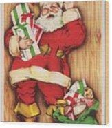 Christmas Illustration 1230 - Vintage Christmas Cards - Santa Claus With Christmas Gifts Wood Print