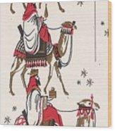 Christmas Illustration 1234 - Vintage Christmas Cards - Three Kings On Camel Wood Print