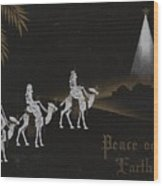 Christmas Illustration 1238 - Vintage Christmas Cards - Three Kings On Camel Wood Print