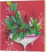 Christmas Illustration 1241 - Vintage Christmas Cards - Mistletoe Wood Print