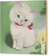 Christmas Illustration 1245 - Vintage Christmas Cards - Little Dog Near To Christmas Candle Wood Print