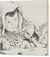 Christmas Illustration 1248 - Vintage Christmas Cards - Infant Jesus On Crib Wood Print