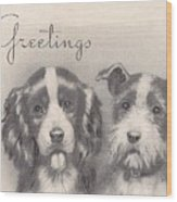 Christmas Illustration 1252 - Vintage Christmas Cards - Two Dogs Wood Print