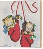 Christmas Illustration 1253 - Vintage Christmas Cards - Little Dog And Kitten Wood Print