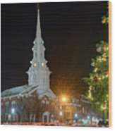 Christmas In Market Square Wood Print