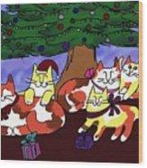 Christmas Kitties  Wood Print
