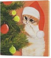 Christmas Kitty Wood Print