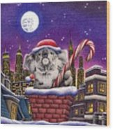Christmas Koala In Chimney Wood Print