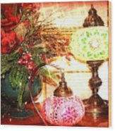 Christmas Lamps Wood Print