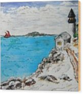 Christmas Lighthouse Wood Print