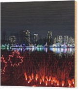 Christmas Lights At Lafarge Lake In City Of Coquitlam Wood Print