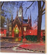 Christmas Lights At Temple Square Wood Print by Utah Images
