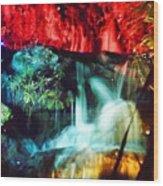 Christmas Lights At The Waterfall Wood Print