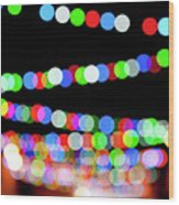 Christmas Lights Bokeh Blur Wood Print
