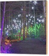 Christmas Lights Decoration Along Lafarge Lake Path Wood Print
