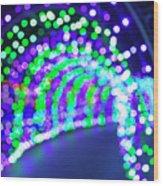 Christmas Lights Decoration Blurred Defocused Bokeh Wood Print