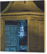 Christmas Lights In Gazebo Wood Print