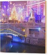 Christmas Lights In Preseren Square In Ljubljana Wood Print