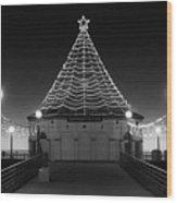 Christmas Lights On Manhattan Pier B And W Wood Print